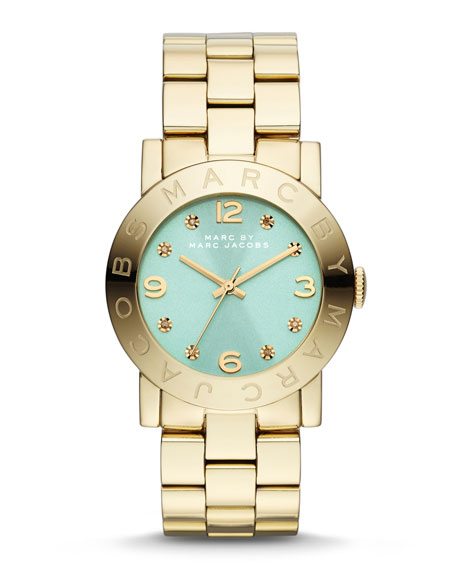 36mm Baker Crystal Analog Watch with Bracelet Strap, Golden/Mint
