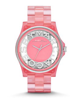 MARC by Marc Jacobs 41mm Henry Skeleton Watch, Coral/Stainless