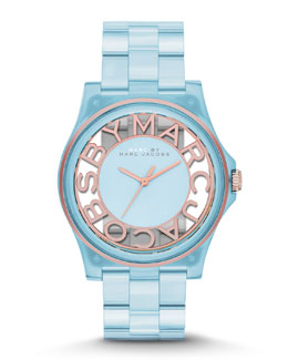 MARC by Marc Jacobs 41mm Henry Skeleton Watch, Ice Blue/Rose Golden