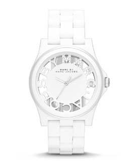 MARC by Marc Jacobs Henry Skeleton Crystal Watch, White