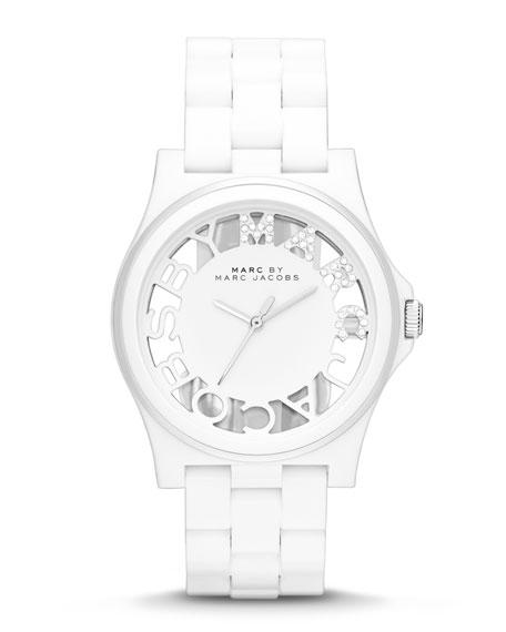 Henry Skeleton Crystal Watch, White