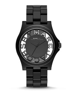 MARC by Marc Jacobs 41mm Henry Skeleton Crystal Watch, Black