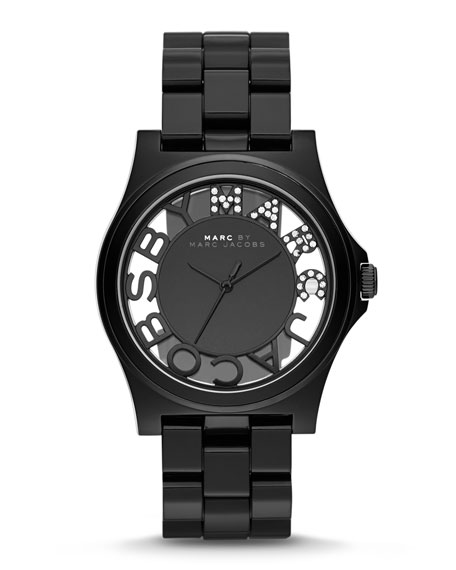 41mm Henry Skeleton Crystal Watch, Black