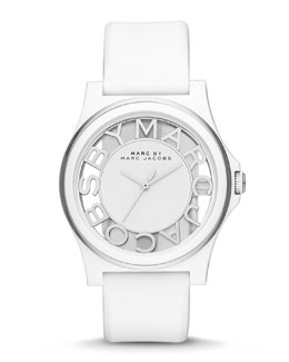 MARC by Marc Jacobs Henry Skeleton Watch with Silicone Strap, White