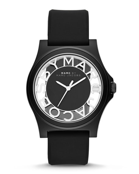 Henry Skeleton Watch with Silicone Strap, Black
