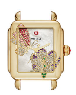 MICHELE Limited Edition Deco Jardin Gold Diamond-Dial Watch Head