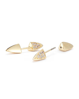 Elizabeth and James Vogel White Topaz Pave Crystal Pyramid Spike Screw-On Stud Earrings
