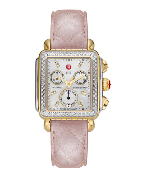 18mm Pearl Quilted Leather Watch Strap, Pink