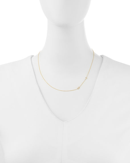 Mini 2-Number Necklace, Yellow Gold