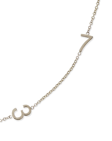 Mini 2-Number Necklace, White Gold