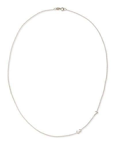 Mini 2-Number Necklace  White Gold