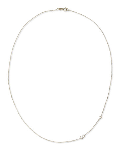 MAYA BRENNER DESIGNS Mini 2-Number Necklace, Yellow Gold in White Gold