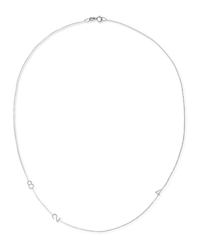 Maya Brenner Designs Mini 3-Number Necklace, White Gold