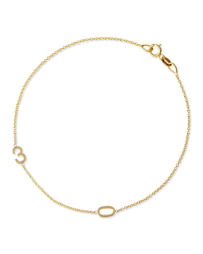 Mini 2-Number Bracelet  Yellow Gold