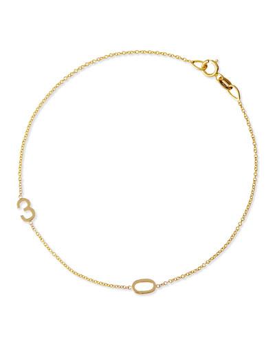 Mini 2-Number Bracelet, Yellow Gold