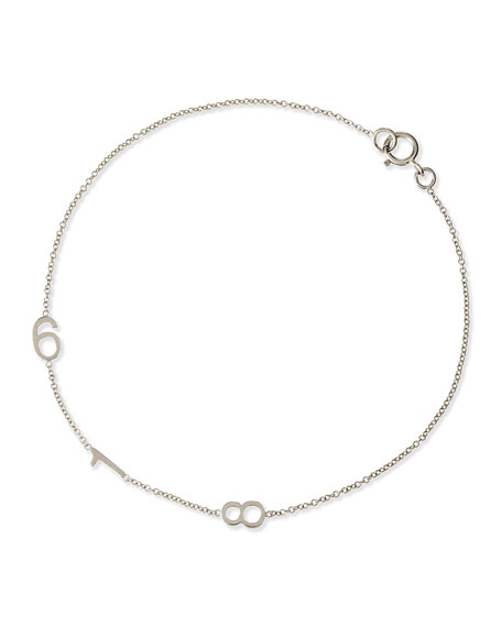 Mini 3-Number Bracelet, White Gold