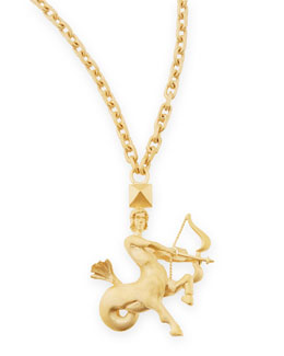 "Valentino Golden Sagittarius Zodiac Necklace, 36""L"