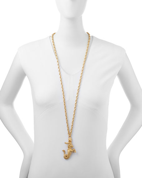 "Golden Capricorn Zodiac Necklace, 36""L"