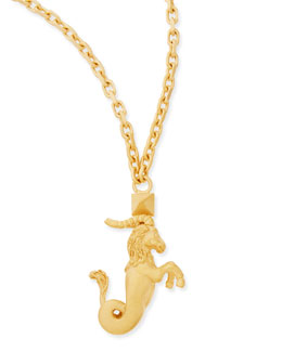 "Valentino Golden Capricorn Zodiac Necklace, 36""L"