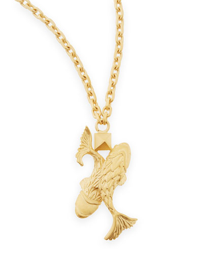 "Golden Pisces Zodiac Necklace, 36""L"