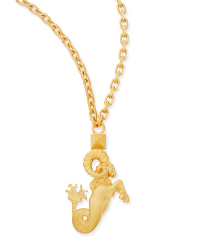 "Golden Aries Zodiac Necklace, 36""L"