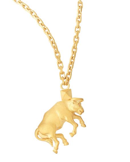 "Golden Taurus Zodiac Necklace, 36""L"