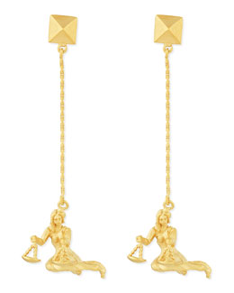 Valentino Golden Libra Zodiac Earrings