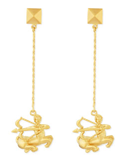 Valentino Golden Sagittarius Zodiac Earrings