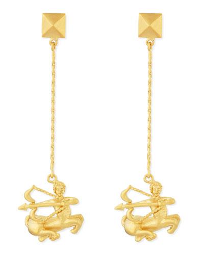 Valentino Golden Sagittarius Zodiac Earrings