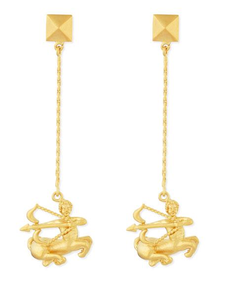 Golden Sagittarius Zodiac Earrings