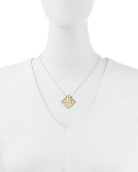 14k Modern Monogram Pendant Necklace with Diamonds