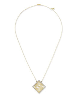 Kacey K 14k Modern Monogram Pendant Necklace with Diamonds