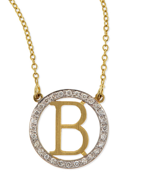 Kacey KSmall Round Initial Pendant Necklace with Diamonds