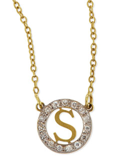 Kacey K Extra Small Round Initial Pendant Necklace with Diamonds
