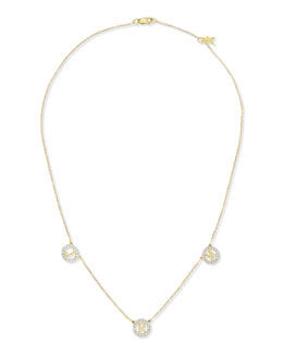 Kacey K Extra Small Round 3-Initial Pendant Necklace with Diamonds