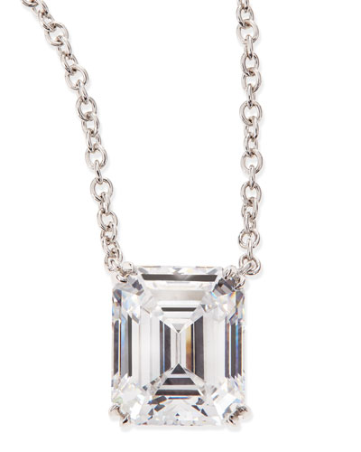 Fantasia by DeSerio 6.0 Carat Cubic Zirconia Emerald-Cut Pendant Necklace