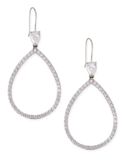 Fantasia by DeSerio Open Pave Cubic Zirconia Pear Earrings