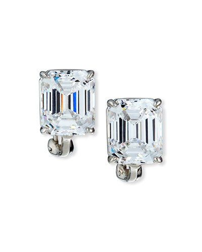 13.0 Carat Cubic Zirconia Emerald-Cut Stud Earrings