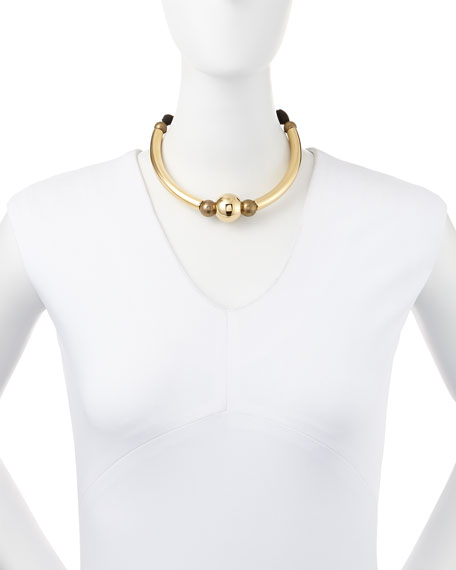 Golden Ball Choker Necklace with Black Ribbon