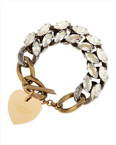 Lanvin Crystal Chain Bracelet with Heart Charm