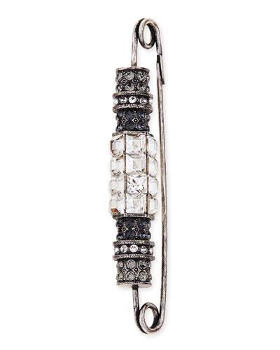 Lanvin Crystal Bar Brooch