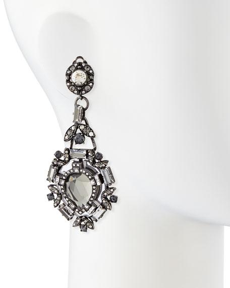 Clear Crystal Clip-On Chandelier Earrings
