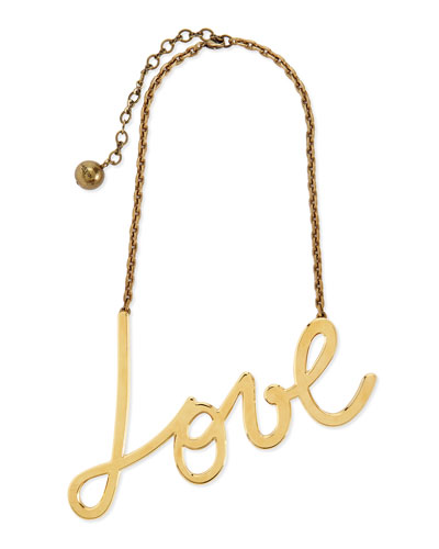 Lanvin Golden Love Pendant Necklace