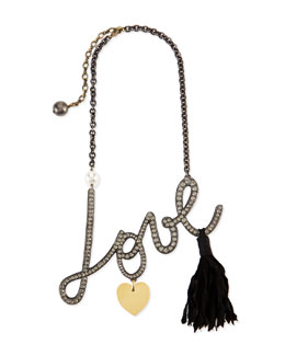 Lanvin Pave Crystal Love Pendant Necklace