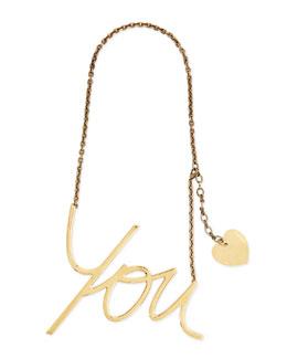 Lanvin Golden Heart You Pendant Necklace
