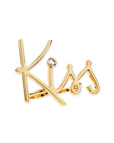 Two-Finger Golden Kiss Ring
