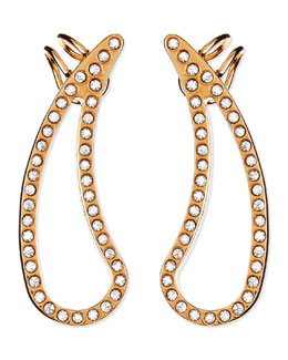 Vita Fede Crystal Teardrop Cutout Pierced Earring Cuffs, Rose Gold Plate