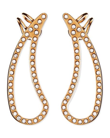 Crystal Teardrop Cutout Pierced Earring Cuffs, Rose Gold Plate