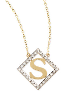 Kacey K Small Block Initial Pendant Necklace with Diamonds
