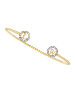 Kacey K 14k Initial-Cap Cuff Bracelet with Diamonds